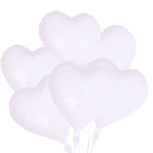 CozofLuv 25 Stück 18 Zoll Herzballons Folienballons Luftballons Herzform Helium Ballons Herzluftballons für Valentinstag Hochzeit (Weiß)