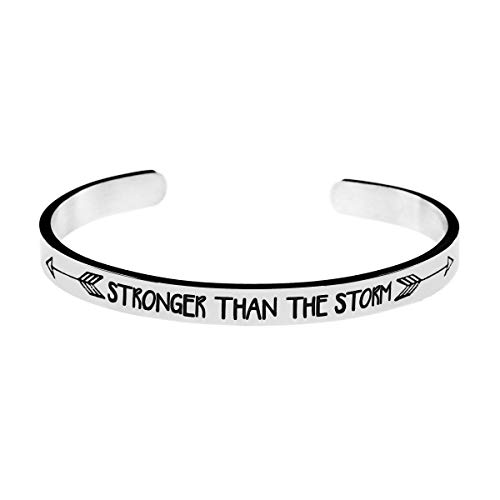 Jvvsci Stronger Than The Storm Cuff Bracelet, Inspirational Motivational Gift, Friends BFF Sisters Encouragement Gift,Uplifting Gift For Her, Strength Jewelry