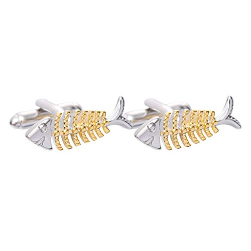 Yowablo Manschettenknöpfe Schmuck Männer und Frauen Mode Kreative Goldfischknochen (Silber)