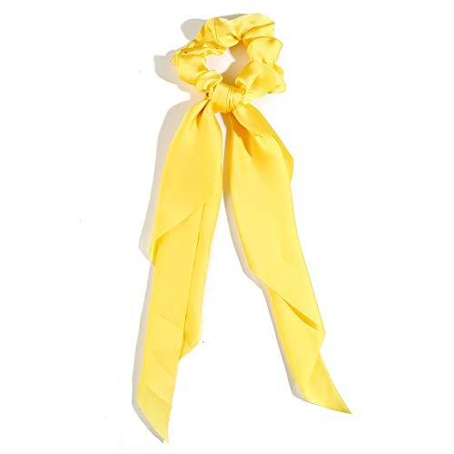 JSZWGC Mode Haarschmuck Langer Schal Bänder Scrunchie for Frauen Fliege elastischer Pferdeschwanz-Halter-Haar-Bänder (Color : 2 Yellow)