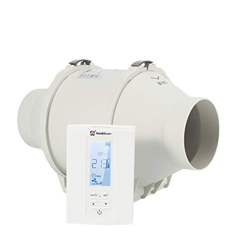 Hon&Guan Rohrventilator - Abluftventilator Badlüfter mit Hygrostat und Timer, Intelligenter Controller mit Drei Geschwindigkeitssteuerung (ø100mm)
