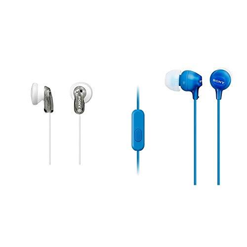 Sony MDR-E9LP Cuffie Auricolari, 104 dB, 16 Ω, 100 mW, Grigio & Mdr-Ex15Ap - Cuffie In-Ear con Microfono, Auricolari in Silicone, Blu