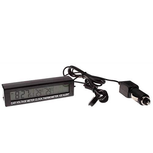 bouncevi Auto-Thermometer innen und außen Doppeltemperatur + Uhr + Spannung Elektronisches Thermometer LED Auto-Elektronisches Thermometer