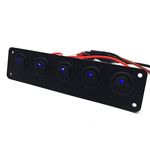 WEIMEIDA Qclj0416 5 Ciclo de pandillas Azul LED Dash Rocker Rocker Toggle Panel para Barco Yate Marine Coche Impermeable Piezas de Repuesto