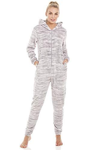 Pijama de una Pieza con Capucha Forro Polar Supersuave Estampado Jaspeado - Gris 44-46