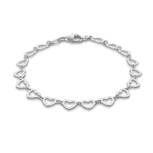 Tuscany Silver Pulsera para Mujer en Plata con Cadena Formada por Contorno de Corazones - 18cm