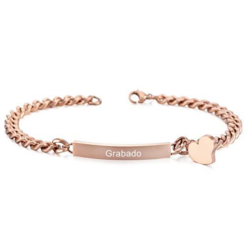 MeMeDIY Rosa Oro Tono Acero Inoxidable Pulsera Brazalete Eslabones Link Enlace Corazón Heart Pulido - Grabado Personalizado