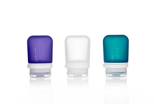 Humangear GoToob + Silikon Reise Flasche mit Sicherung Gap, 3er Pack, (50), Clear/Purple/Teal (Mehrfarbig) - HG3183