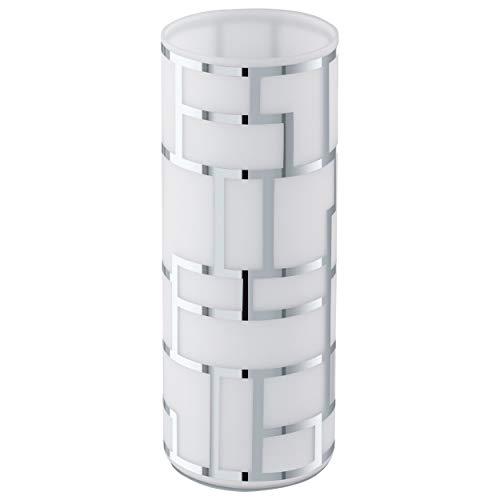 EGLO Tischlampe Bayman, 1 flammige Tischleuchte, Elegant, Nachttischlampe aus Stahl und Glas mit Dekor, Wohnzimmerlampe in chrom, weiß, Lampe mit Schalter, E27 Fassung
