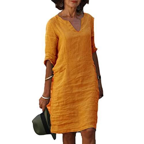 Suncolour Vestido de una línea con Escote en V para Mujer Vestido de Sol de Playa de algodón Suelto étnico Vintage