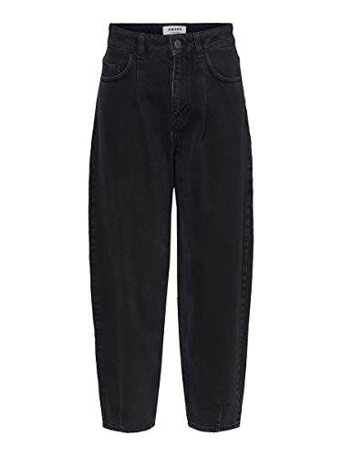 Vero Moda VMIDA HR Loose Barrel Jeans ST106 VMA KI, Negro, 26W x 32L para Mujer