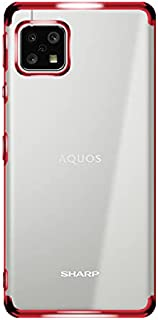 AQUOS sense4 / AQUOS sense5G ケース メッキ TPU(レッド) AQUOS sense4 lite SH-53A SH-41A SHG03 A004SH SH-M17 SH-M15 スマホケース スマホカバー 透明 ...