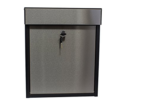 Qualarc WF-P010 Woodlake Wall Mount Rectangular Galvanized and Stainless Steel Locking Mailbox, Black/Silver