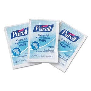 PURELL Cottony Soft Individually Wrapped Sanitizing Hand Wipes, 5 X 7, White, 1000/Count