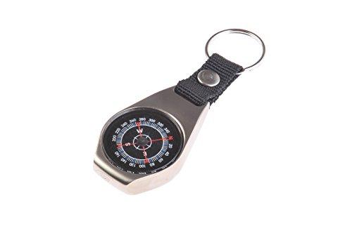The Khan Outdoor & Lifestyle Company Huntington CC-01 Kleiner Kompass im stabilem Gehäuse aus gebürstetem Stahl, professionell flüssigkeitsgedämpft im Metallgehäuse, Mod. K30T (DE)