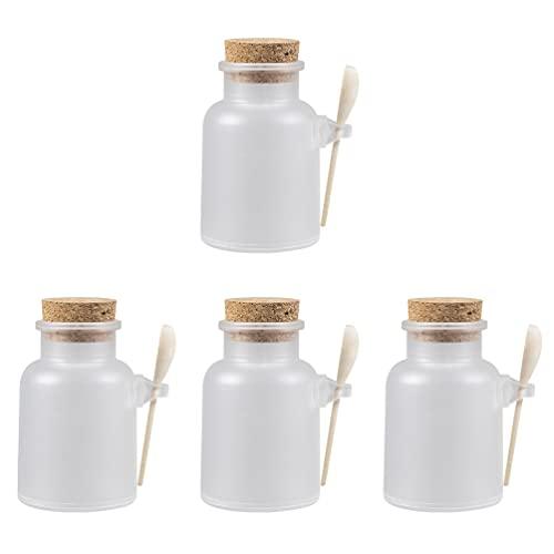 Minkissy Leere Badesalz Gläser mit Kork Und Löffel Pulver Körper Butter Lagerung Kanister Dosen Töpfe Dosen Flaschen Behälter für Kosmetische Lagerung 4 Sets