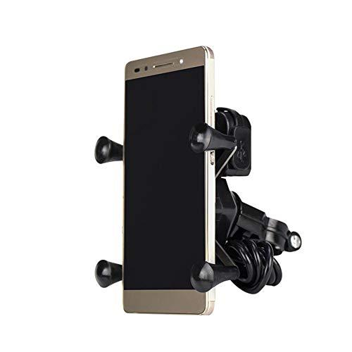 Nobrand Universele mobiele telefoonhouder voor motorfiets, waterdicht met USB-lader, kan 360 graden worden gebruikt, geschikt voor motorfiets, telefoon te draaien, universele fiets, bescherming tegen wiebeling en antislip