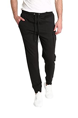 LOUNGEHERO Pantaloni Tuta Uomo Cotone Pantaloni Sportivi Pantaloni Morbidi Traspirante e Leggeri con Tasche e Fascia Elastica Nera Large Nero