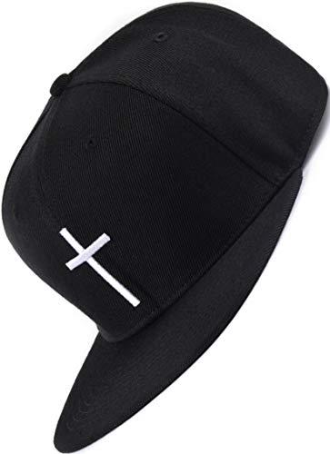 Bexxwell Snapback Cap schwarz mit Kreuz (optimale Passform, Kappe, Black, Cross, Unisex)