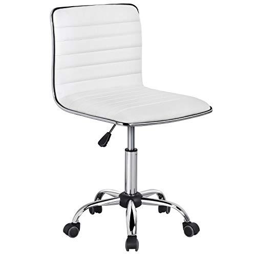 Yaheetech Bürostuhl Drehstuhl Chefsessel Kunstleder Schreibtischstuhl Ergonomischer Bürodrehstuhl höhenverstellbar Wippfunktion Weiß