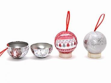4x Weihnachtskugel zum befüllen Weihnachtsdose 7 cm Anhänger 4 fach sortiert Weihnachts Baum Kugel Blech Dose zum füllen z.B. für Adventskalender oder Geldgeschenk