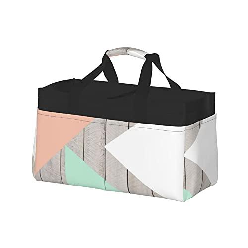 Bolsa extra grande para uso general, cesta de lona de playa, reutilizable, bolsa de compras para niños, albaricoque, verde azulado, gris, madera, bloque de color moderno