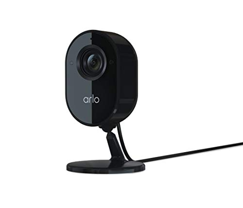 Arlo Essential Indoor Security Camera   1080P Video Quality, 2-Way Audio, Package Detection   Motion Detection and Alerts   Built-in Siren   Night Vision   Wired   VMC2040B   Works with Alexa   Black