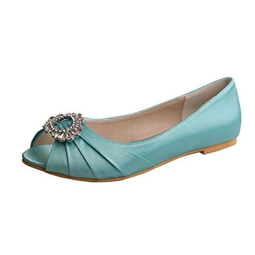 Zapatos De Novia Plana Mujer Bailarinas Peep Toe Satén Zapatos De Boda...