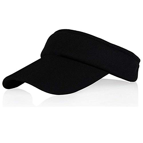 Black Sun Visors for Women and Girls, Long Brim Thicker Sweatband Adjustable Hat for Golf Cycling Fishing Tennis Running Jogging and Other Sports