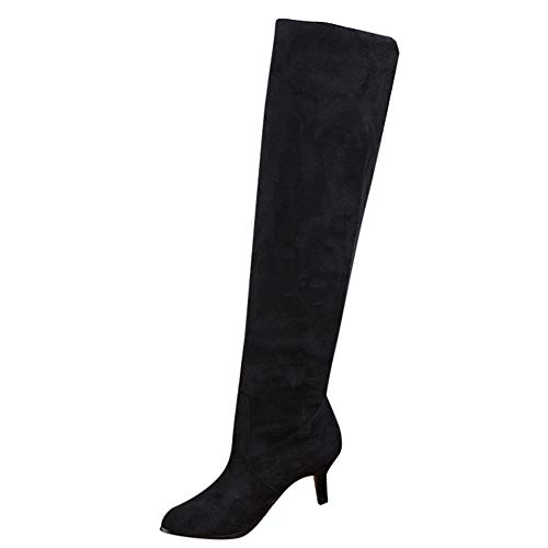 Buy Bargain SADUORHAPPY Thigh High Block Heel Boot Women Fleeces Pointed Toe Stretch Over The Knee B...