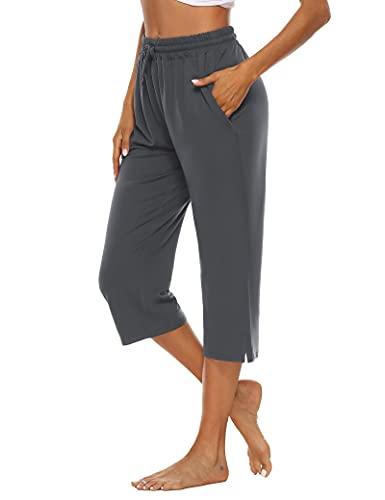 OYANUS Womens Capri Pants Wide Leg Loose Comfy Drawstring Lounge Pants Yoga Workout Capris with Pockets Darkgray M