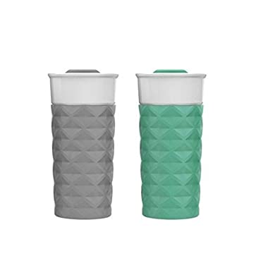 Ello Ogden BPA-Free Ceramic Travel Mug with Lid 2pk (2, Grey & Mint)