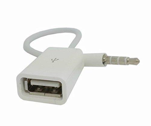 Finoo ® | Auto AUX Audio Plug zu USB 2.0 Buchse Konverter Kabel (Weiß) Passend für Mp-3 Player (Nicht USB Stick)