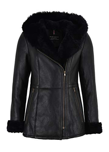 Smart Range Giacca in Montone Shearling Volley B3 Flying Black Fur Hooded NV-39 (10)