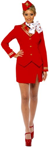 Smiffys Karneval Damen Kostüm sexy Stewardess rot Flugbegleiterin Gr.40/42