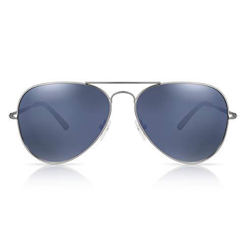 fawova Gafas de Sol Aviador Hombre Polarizadas con Espejo Azul Grisáceo, 2020 Gafas Aviador Polarizado Con Montura Metal para Plateado,Conducir, Pescar, Golf, Correr UV400, Cat.3,58mm
