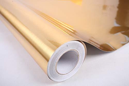 60 cm x 3m Oro Plata Cepillado Textura de Metal Contacto Papel película Auto Adhesivo Peel-Stick Pegatina extraíble DIY Fondo de Pantalla (Color : Gold, Size : 60cm x 1M)