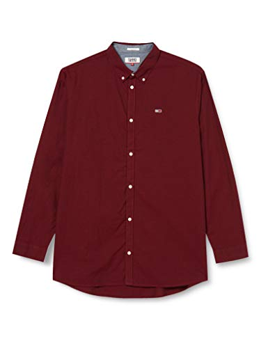 Tommy Jeans Herren TJM Tape Oxford Shirt Hemd, Rot (Wine Red), L