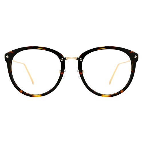 TIJN Blue Light Block Glasses Round Optical Eyewear Non-prescription Eyeglasses Frame for Women Men