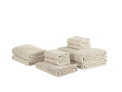 Beliani Conjunto de 9 Toallas de algodón Beige AREORA