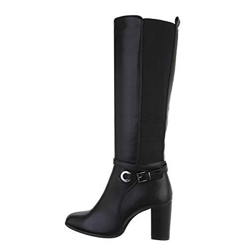 Ital Design Damenschuhe Stiefel High-Heel Stiefel, 7400-, Kunstleder, Schwarz, Gr. 39