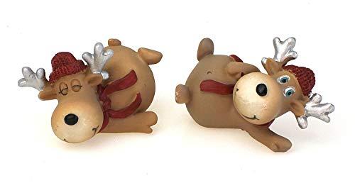 2x Deko Figur Rentier Elch liegend Im Set Je 7 cm, Polystein Braun Rot Dekofigur Elchfigur Winter Weihnachten Kranzdeko Winterdeko