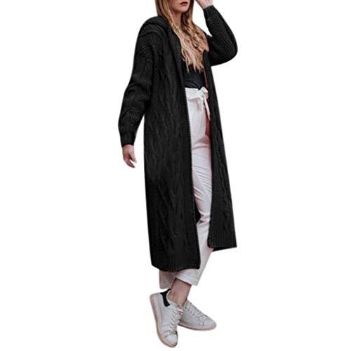 Zegeey Strickjacke Pullover Damen Langarm Langer Einfarbig Pulli Herbst Winter Mantel Outwear Oberteile Bluse Shirt Langjacke Trenchcoat(Schwarz,34 DE/S CN)