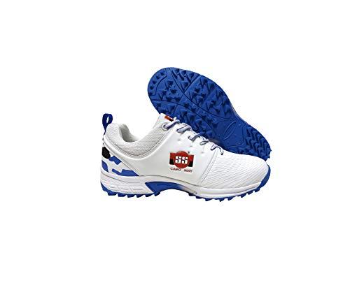 SS Cricket Camo Premium Cricket Shoes, Blue White Color - Men's US Size 9