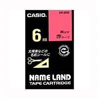 (業務用セット) カシオ ネームランド用テープカートリッジ スタンダードテープ 8m XR-6RD 赤 黒文字 1巻8m入 【×3セット】