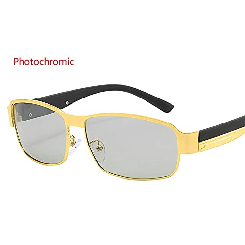 Secuos Moda Gafas De Sol Fotocromáticas Vintage para Hombre, Gafas De Camaleón De Conducción Polarizadas, Gafas De Sol Clásicas De Cambio De Color para Hombre, Uv400 Photochromicgold