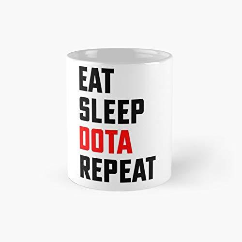 Eat Sleep Dota Repeat – 2 klassische Tassen, tolles Geschenk, lustige Kaffeetassen, 325 ml