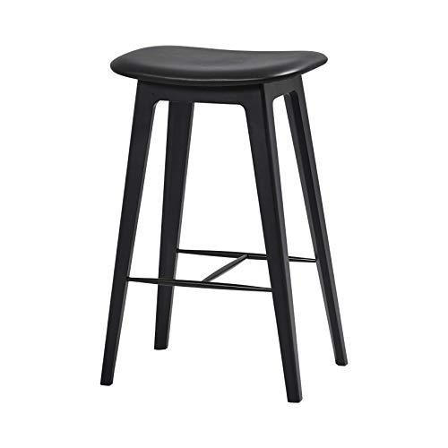 SACKit - Nordic Barhocker, schwarzes Buchenholz und Black Ultra Leder - Fully upholstered - Exklusive Moderne Barstühle im dänischen Design - Perfekt für die Küche - Sitzhöhe 73 cm