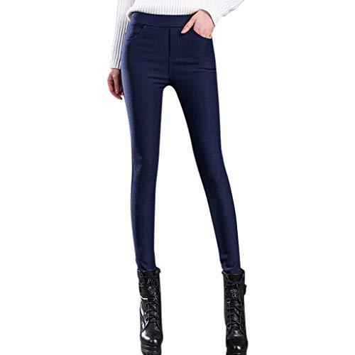 Hosen Damen High Waist Plus Samt Dick Gummizug Taille Solide Bleistift Jeggings Hosen