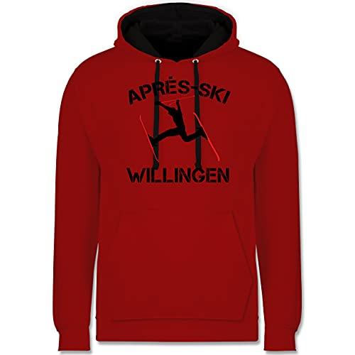 Après Ski - Apres Ski Willingen - XL - Rot/Schwarz - Fun - JH003 - Hoodie zweifarbig und Kapuzenpullover für Herren und Damen